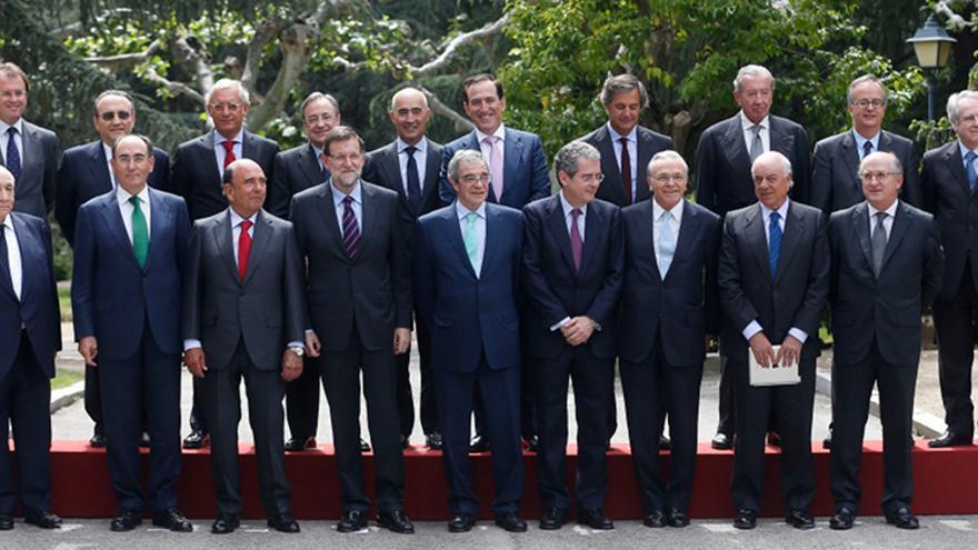 La foto oficial de la reunión de Rajoy y los principales dirigentes empresariales. Foto: Presidencia del Gobierno