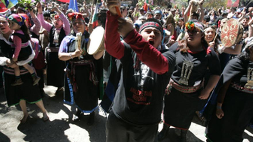 Indigenas mapuches chilenos se manifiestan
