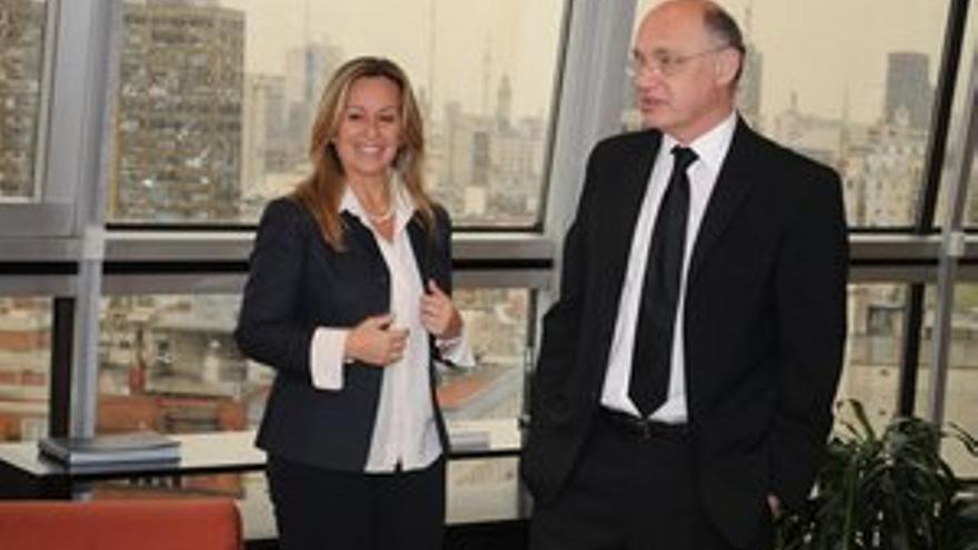 El canciller argentino Héctor Timerman recibió el viernes a la ministra de Asuntos Exteriores española, Trinidad Jiménez. (Roberto Daniel Garagiola)