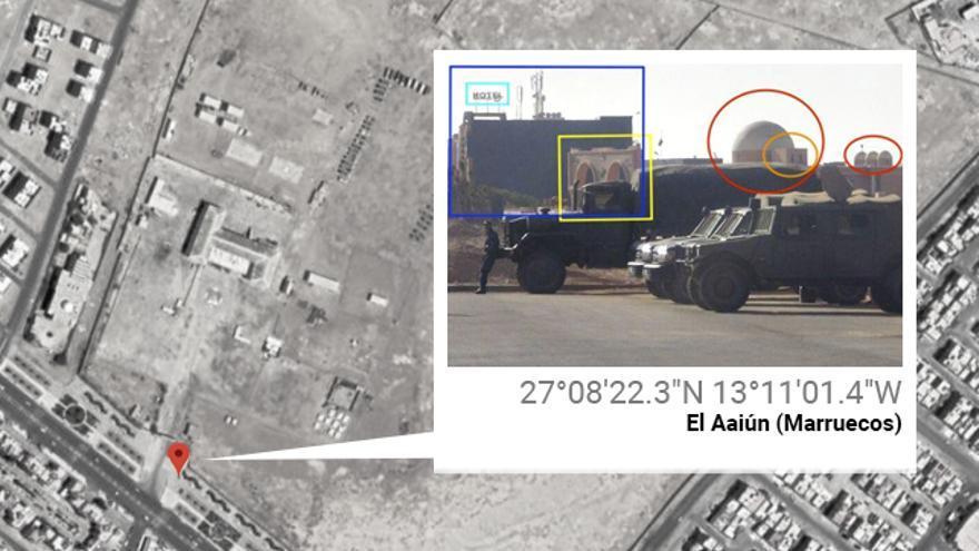 Uno de los blindados españoles URO VAMTAC que se ha podido geolocalizar en Sáhara Occidental.