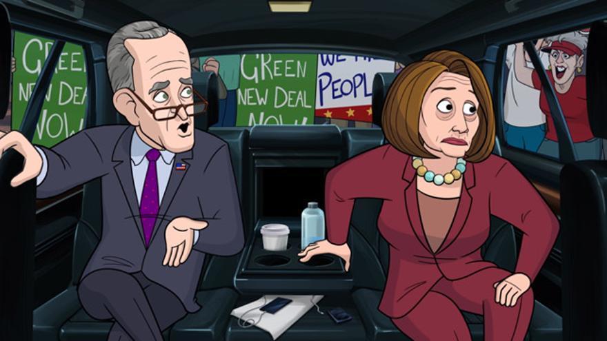 Nancy Pelosi y Chuck Schumer, dos habituales de 'Animado presidente'.
