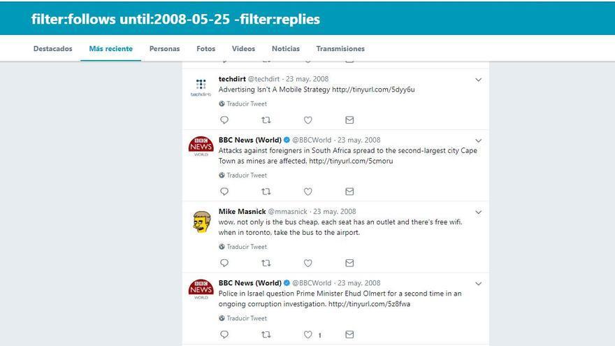 Los tuits del 25 de mayo de 2008