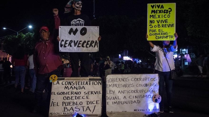 Protesta contra la construcción de la fábrica de Constellation Brands. Foto: Mexicali Resiste/Facebook.