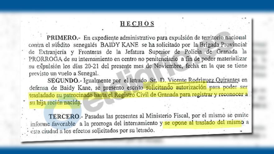 Extracto de la respuesta de la titular del juzgado número dos de Granada a la petición de reconocimiento de la hija de Baidy Kane, al que ha tenido acceso eldiario.es