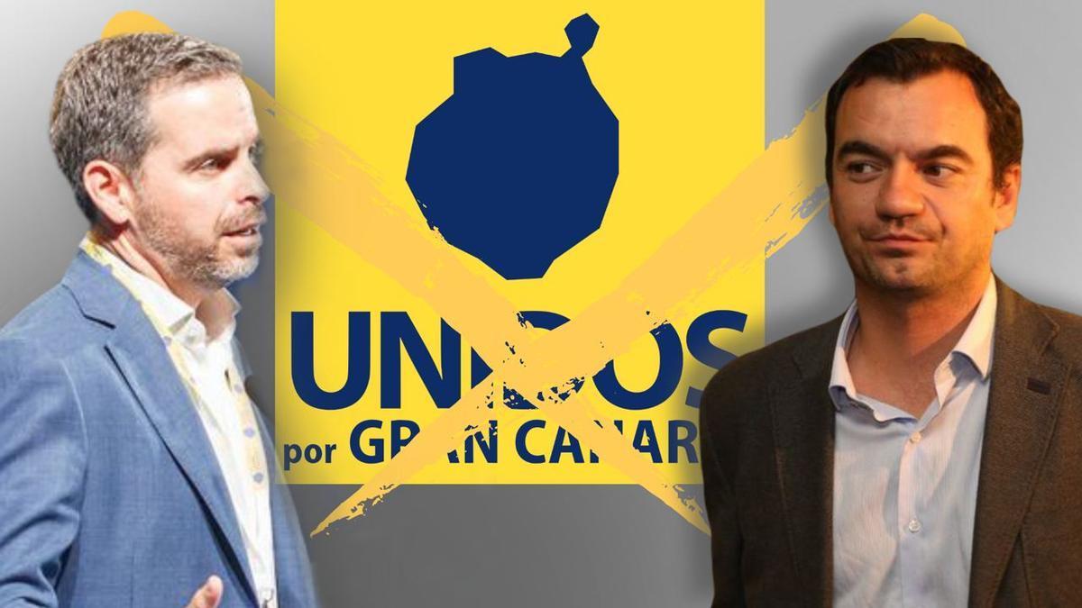 A la izquierda, el presidente de UxGC, Lucas Bravo de Laguna ,y a la derecha, Saúl Ramírez ex diputado por la provincia de Las Palmas con Ciudadanos.