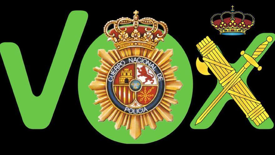 Montaje del agente Alejandro León con el logo de Vox y los emblemas de Policía y Guardia Civil