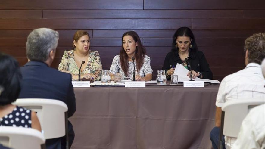 La vicepresidenta del Gobierno de Canarias y consejera de Empleo, Políticas Sociales y Vivienda, Patricia Hernández (c), acompañada por la directora general de Políticas Sociales, Carmen Acosta (d) y por la viceconsejera de Vivienda y Políticas Sociales, Isabel Mena (i).EFE/Ramón de la Rocha