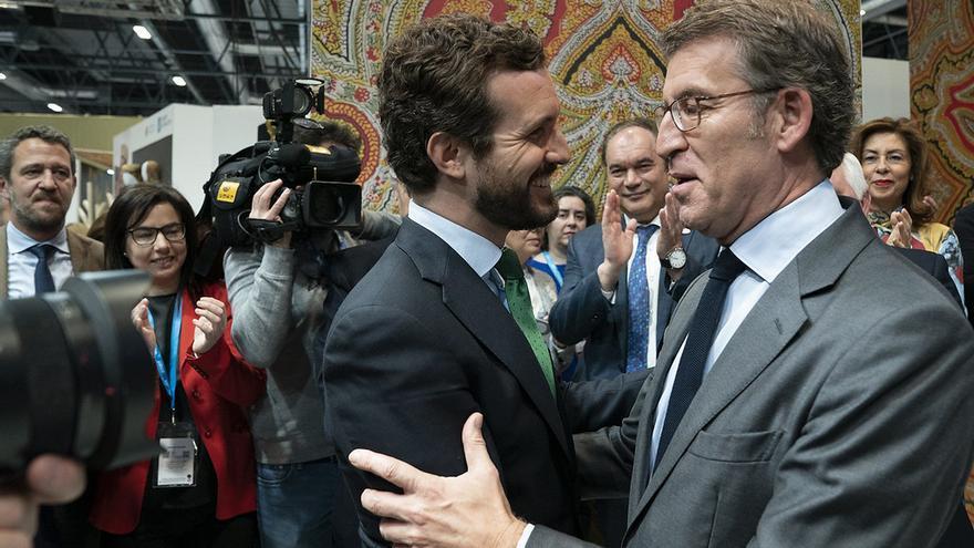 Feijóo, con Casado ante miembros del PP gallego en Fitur 2020