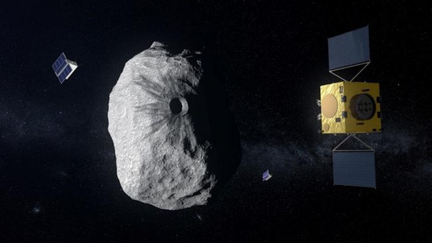 La misión espacial Hera de la ESA actualmente en fase de estudio, será la primera misión en visitar un asteroide de tipo binario: el asteroide Didymos, de unos 800 metros de diámetro, está acompañado por un objeto secundario, más pequeño, de unos 160 metros. Hera estudiará los efectos producidos por el impacto que la misión de la NASA DART llevará a cabo sobre el objeto más pequeño. Créditos: ESA-ScienceOffice.org
