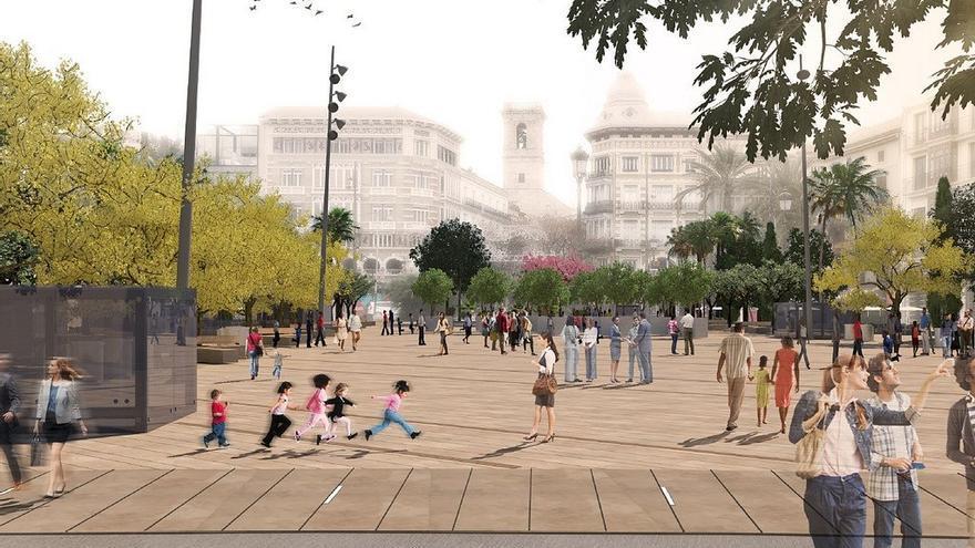 Imagen virtual de una parte de la futura plaza de la Reina