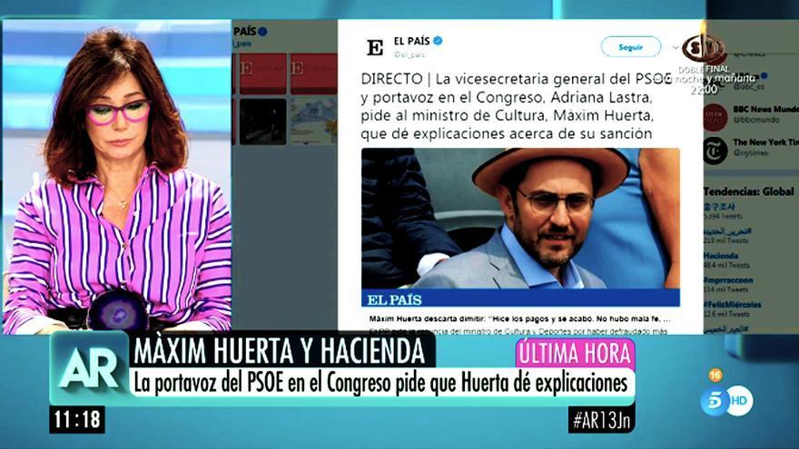 Ana Rosa Quintana aborda el caso Màxim Huerta