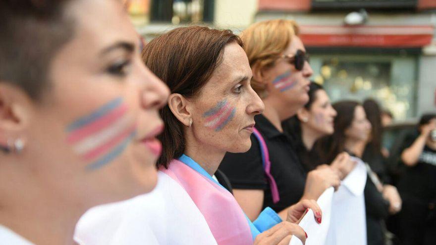 Varias personas marchan con la bandera trans en la manifestación del Orgullo Crítico en Madrid de 2017.