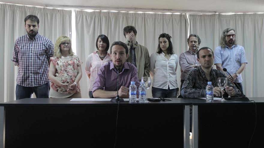 Miembros del equipo organizador de la asamblea constituyente de Podemos. / Efe