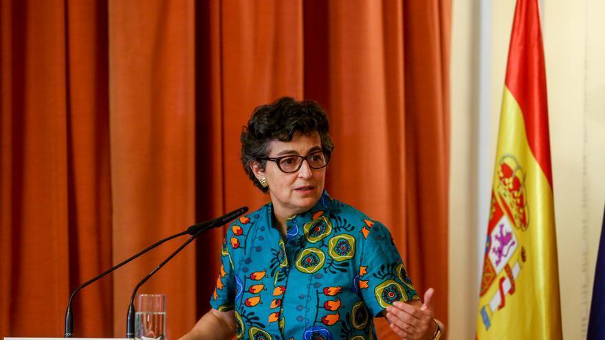 La ministra de Asuntos Exteriores, Unión Europea y Cooperación, Arancha González Laya, asiste a la presentación de la Guía Diplomática Gastronómica en el Casino de Madrid, a 30 de junio de 2021, en Madrid (España)