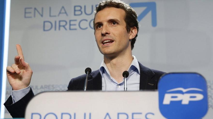 El portavoz del Comité de Campaña del PP, Pablo Casado,