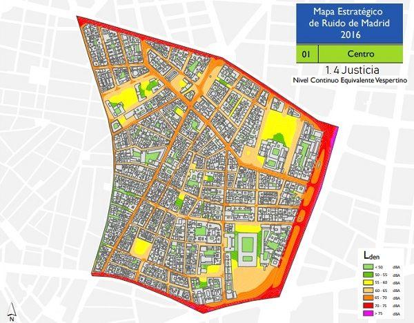 Niveles de ruido vespertino en Justicia según el Mapa Estratégico del Ruido (MER) 2016 | Ayuntamiento de Madrid