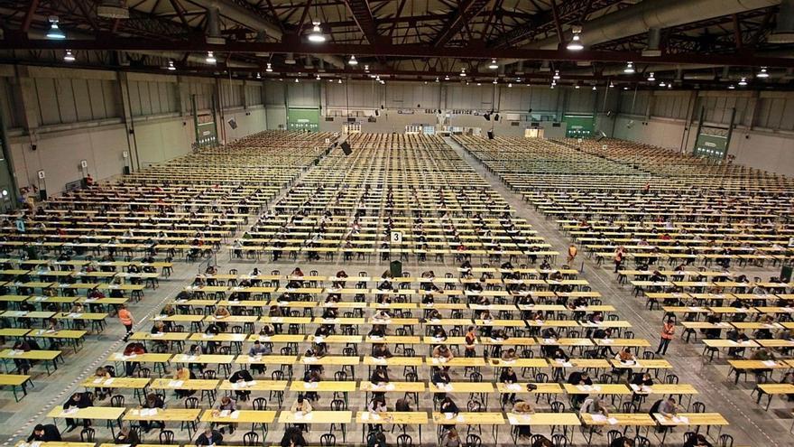 Exámenes de oposición de la Xunta en Silleda, el pasado mes de enero