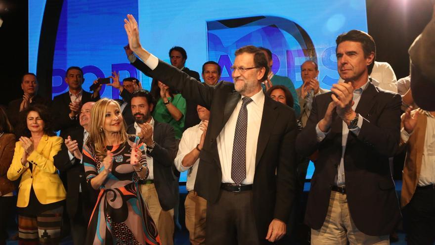 Mitin del presidente del Gobierno de Canarias, Mariano Rajoy y José Manuel Soria en Infecar, Gran Canaria. (ALEJANDRO RAMOS)