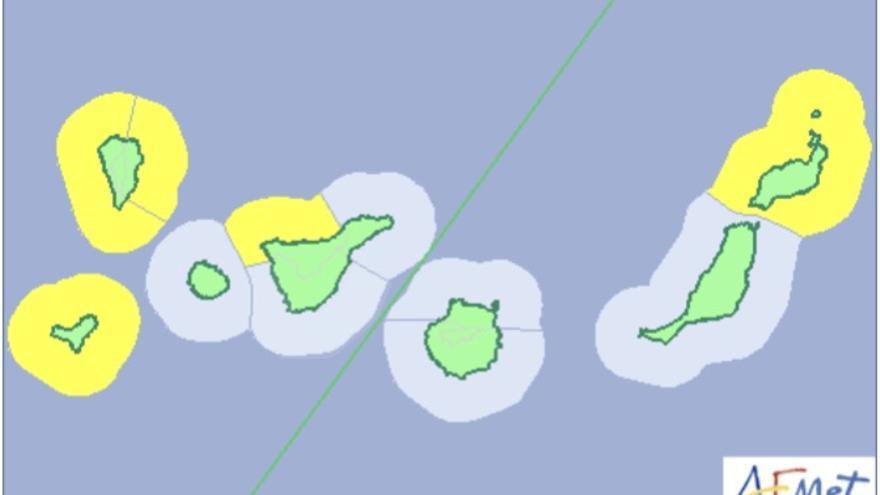 Mapa de la Aemet del aviso amarillo de riesgo por fenómenos costeros este miércoles, 4 de abril de 2018.