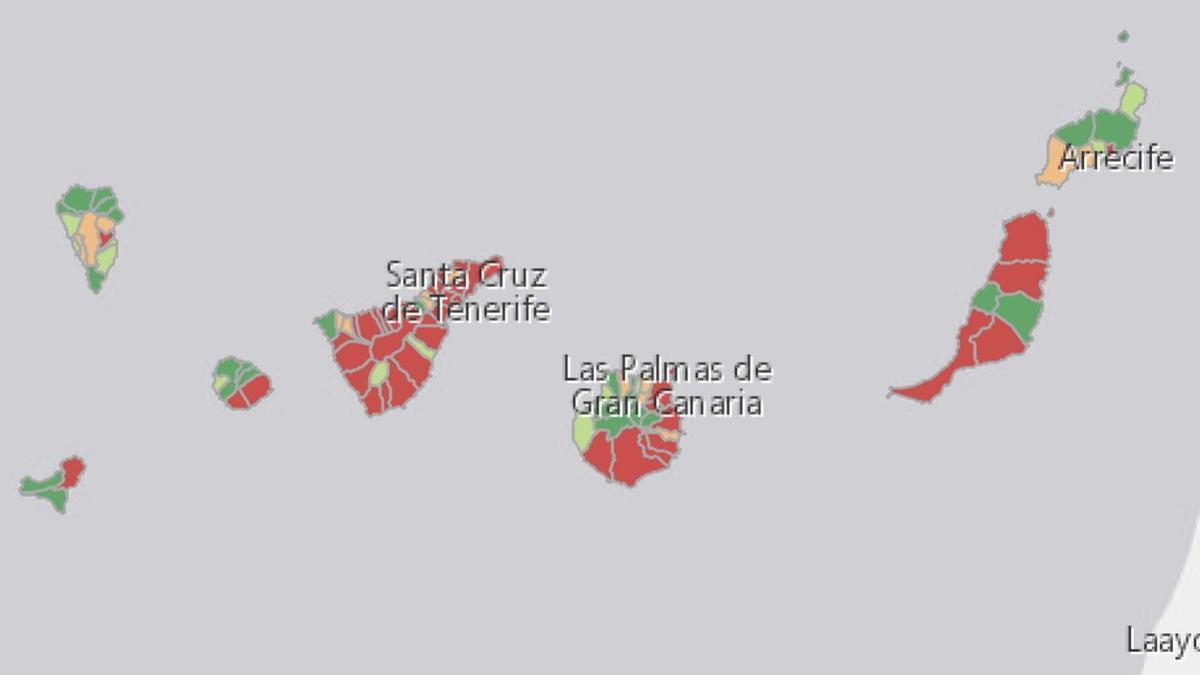 Mapa de los casos activos en Canarias