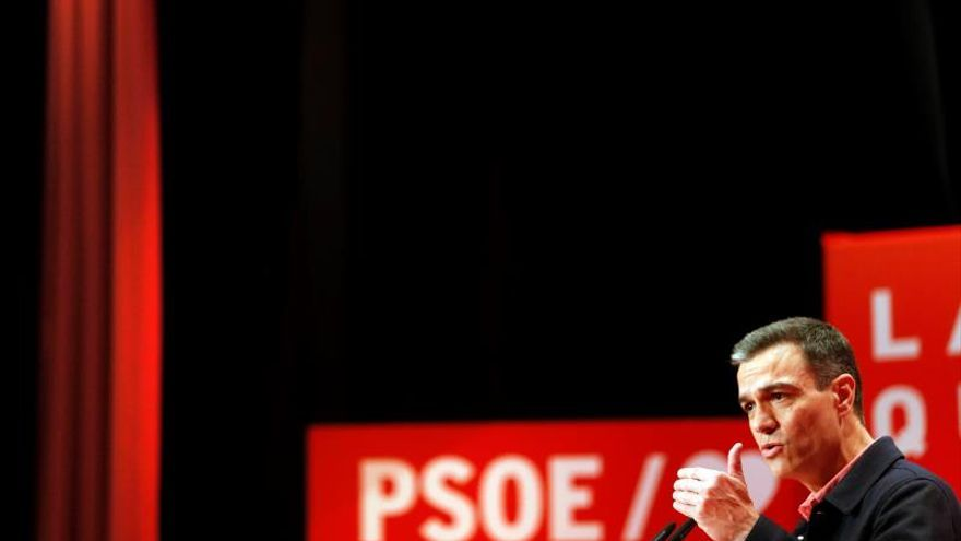 Pedro Sánchez durante un mitin
