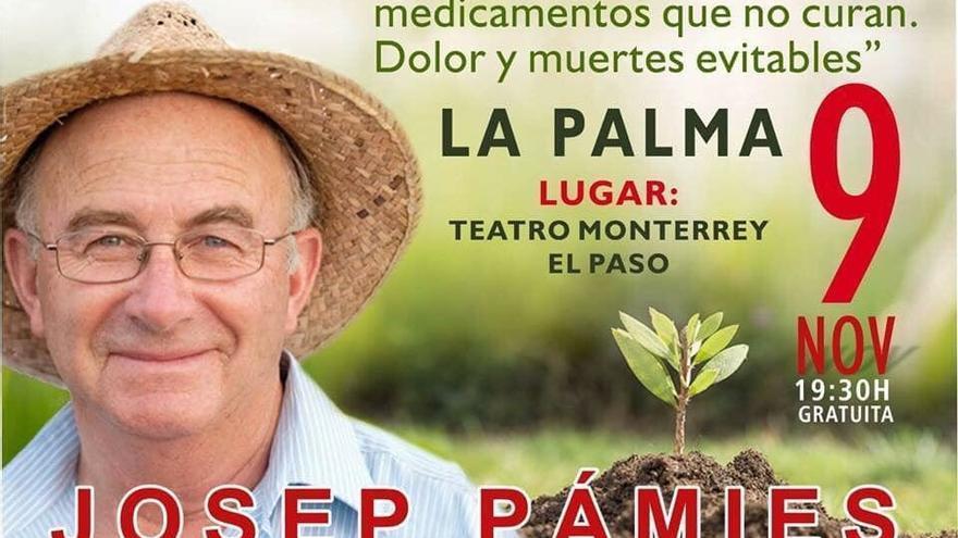 Cartel que anuncia la conferencia del agricultor leridano en la isla de La Palma el 9 de noviembre próximo