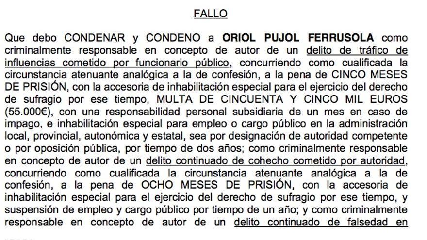 Parte del fallo por el que se condena a Oriol Pujol Ferrusola