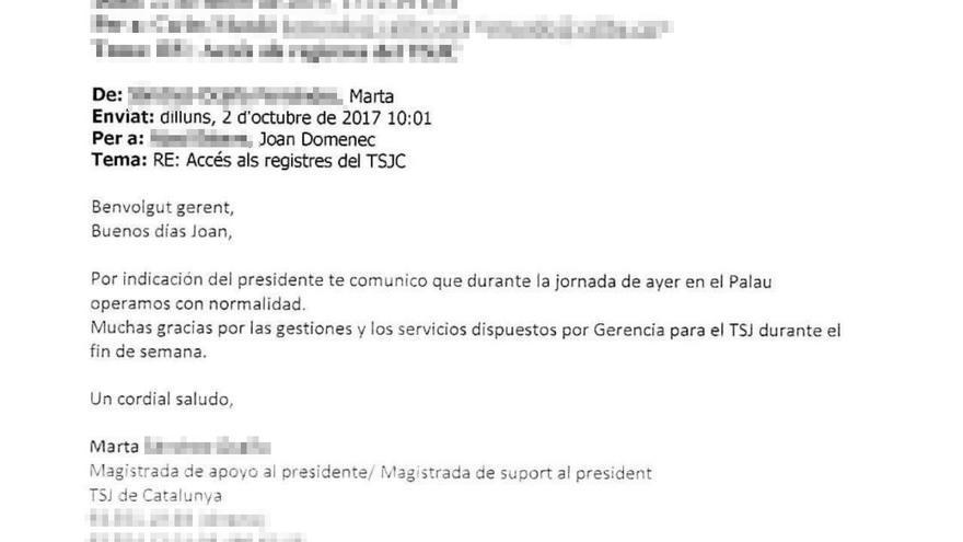 Primer correo enviado desde el TSJC a la Generalitat tras el 1-O