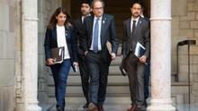 El president Torra junto a la portavoz del Govern y los consellers Damià Calvet y Jordi Puigneró