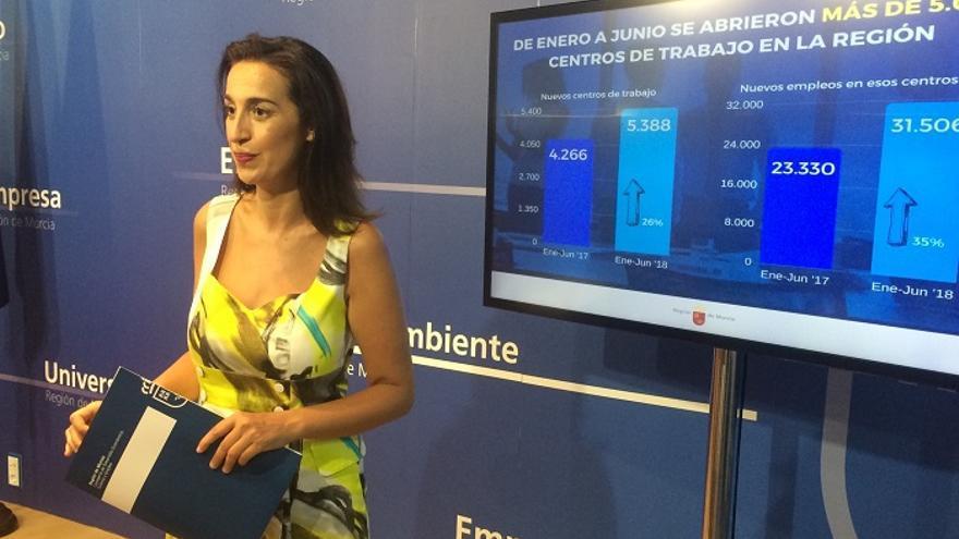 La directora general de Relaciones Laborales y Economía Social, Nuria Fuentes, informando sobre la creación de centros de trabajo
