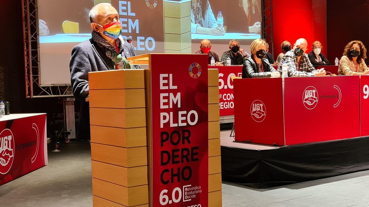 Pepe Álvarez, durante su intervención este viernes en el congreso regional de UGT Extremadura