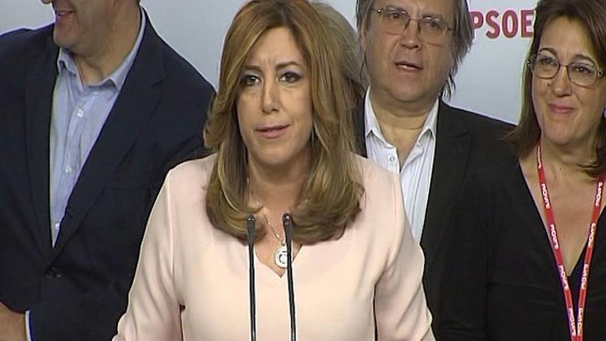La presidenta andaluza, Susana Díaz, en la comparecencia tras la derrota en las primarias del PSOE en mayo de 2017.