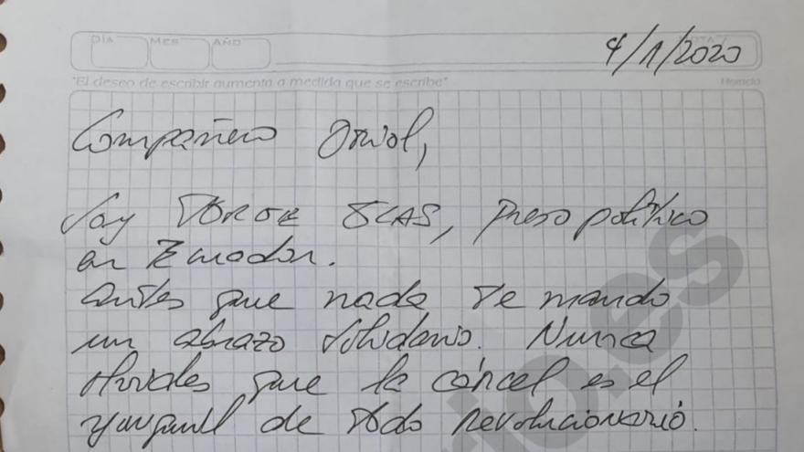 Detalle de la carta de Jorge Glas remitida a la prisión de Lledoners