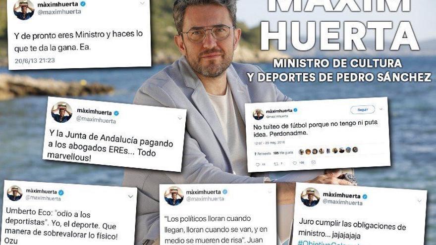 Montaje de los tweets usados por NNGG para criticar a Màxim Huerta