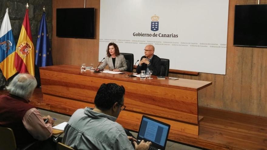 La consejera de Sanidad del Gobierno de Canarias, Teresa Cruz, y el jefe del servicio de Epidemiología del SCS, Domingo Núñez
