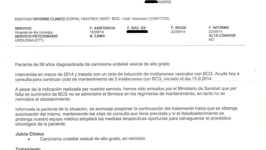 Informe del urólogo de Ana ante la imposibilidad de recibir BCG en su última cita.
