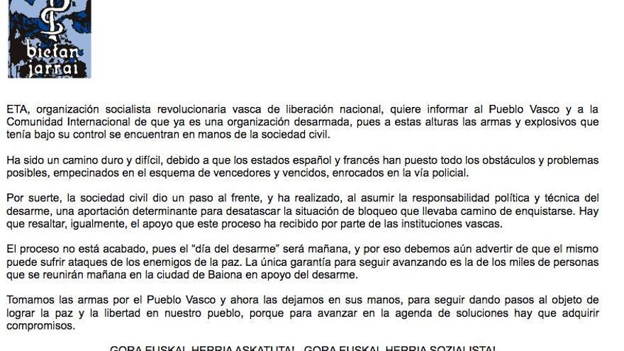 Comunicado de ETA en castellano