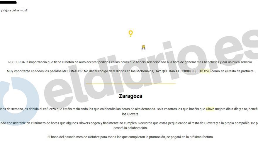 Extracto del email de Glovo del pasado 7 de noviembre a sus repartidores en Zaragoza.