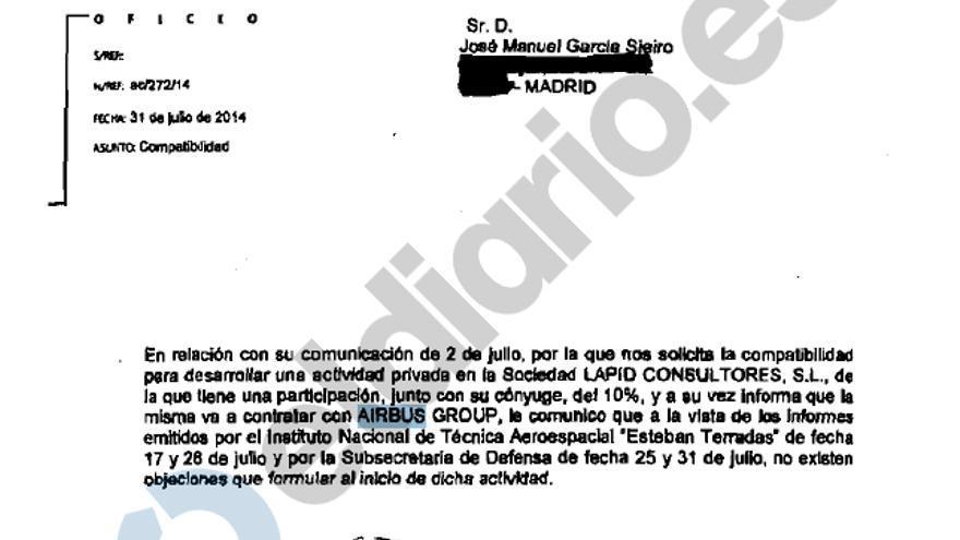 Autorización firmada por la Oficina de Conflicto de Intereses para que José Manuel García Sieiro, ex director general del INTA, trabaje para Airbus