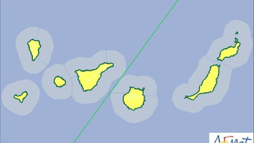 Mapa de la Aemet de aviso de riesgo meteorológico amarillo por polvo en suspensión para este miércoles, 21 de diciembre.