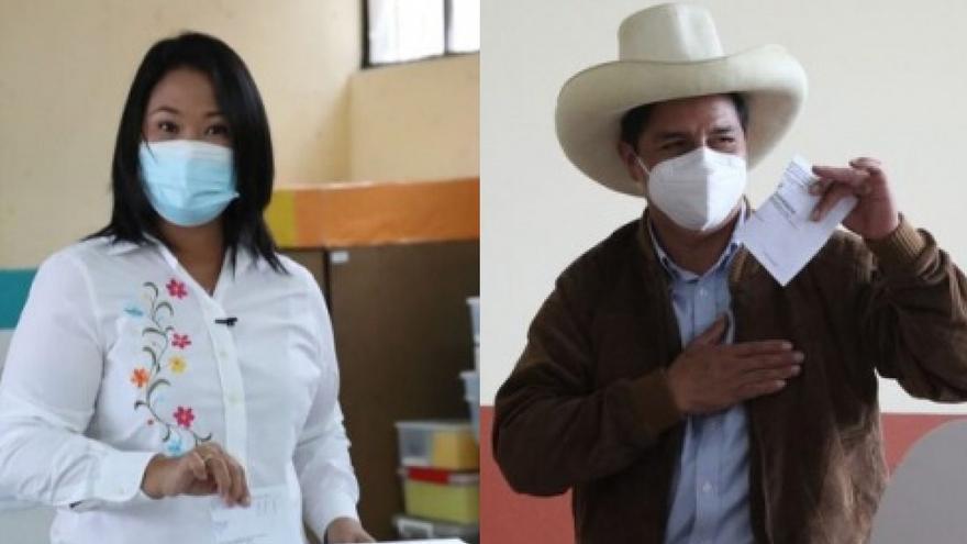 Keiko Fujimori y Pedro Castillo emitiendo su voto