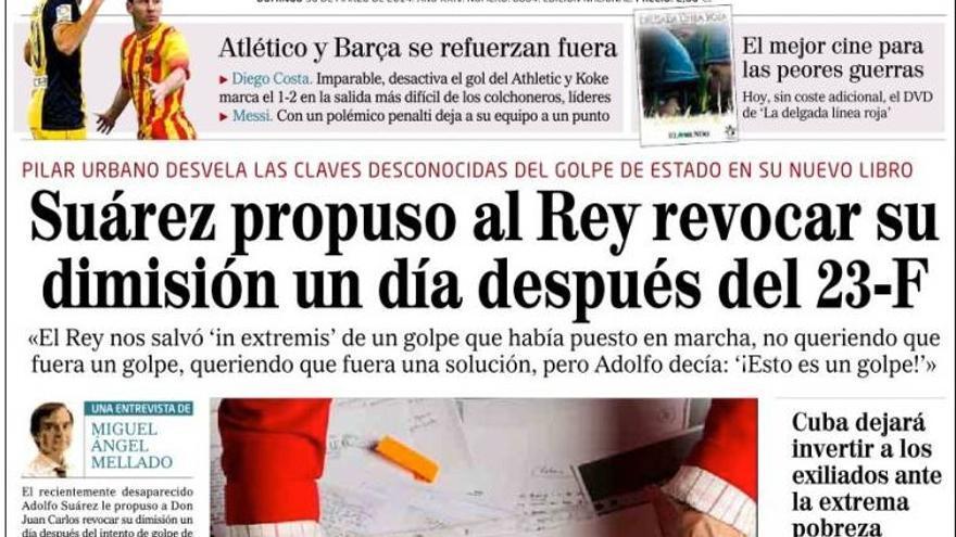 Portada del diario El Mundo del 30 de marzo de 2014.