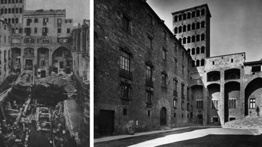 La plaça del Rei i el Palau Reial Major abans i després de les reformes. A l'esquerra, el frontispici que més tard es va col•locar a la porta del Museu Marés