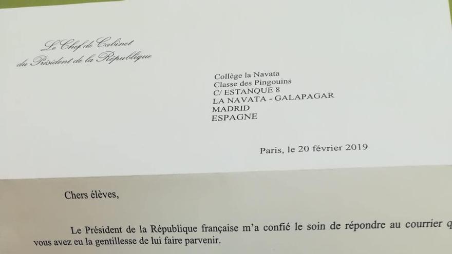 Carta de respuesta del presidente Emmanuel Macron a los alumnos del colegio de La Navata