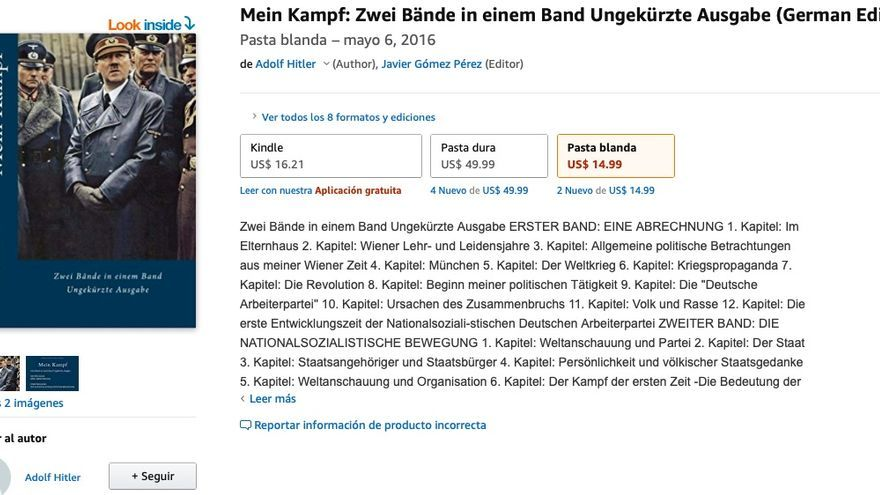 Versión abreviada en alemán de Mein Kampf, el libro de Adol Hitler, que se puede comprar en Amazon.