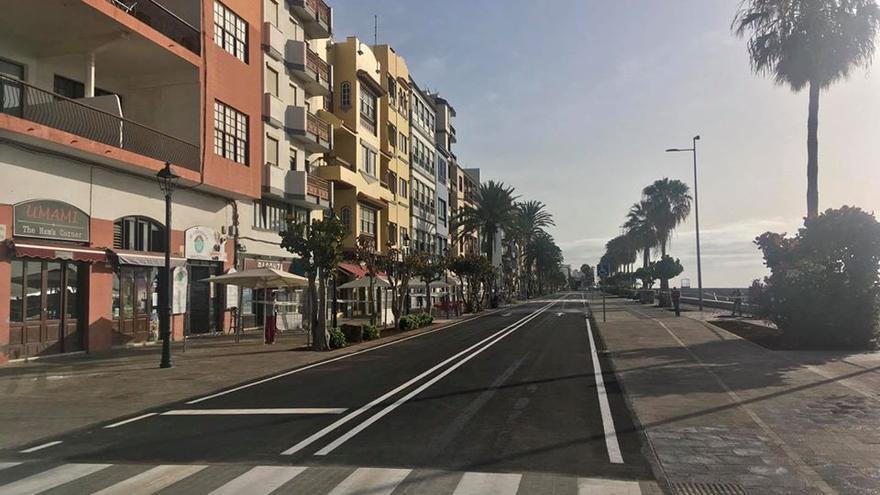 Avenida Marítima de Santa Cruz de La Palma, en la mañana de este jueves.