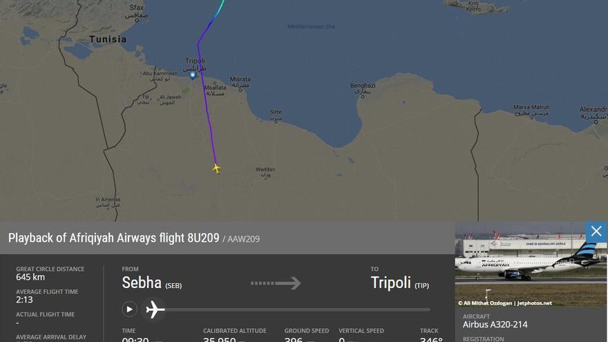 Ruta del avión libio de la compañía Afriqiyah Airways tras ser secuestrado y desviado a Malta.