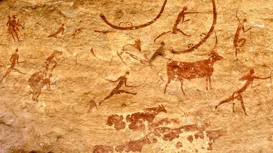 Pinturas rupestres con escenas de caza en Tassili n'Ajjer, Argelia. PN TASSILI