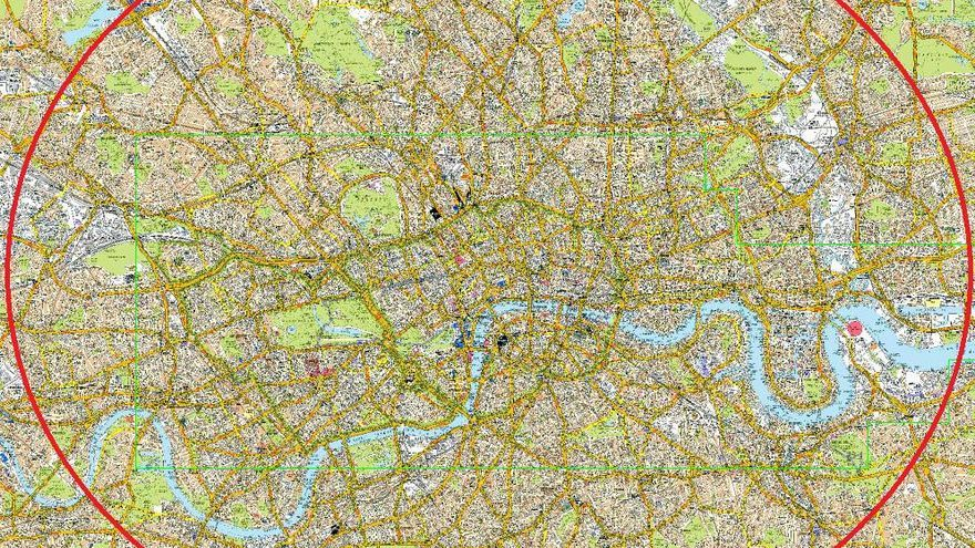 Mapa de Londres utilizado para estudiar 'The Knowledge'