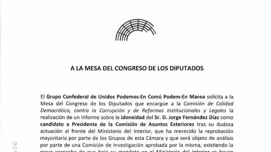 Escrito de Unidos Podemos para pedir un informe sobre la ideoneidad de Jorge Fernández.